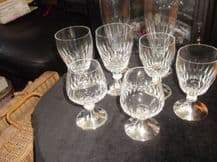 8 (4 x 2) X ELEGANT GLASSES BRANDY CORDIAL LONG FLUTES PORT SILVER PLATED BASES