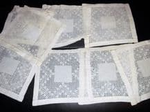 "8 X ANTIQUE TABLE PROTECTORS WHITE LINEN COTTON WITH LACY CROCHET WORK 5.75"" SQ"