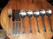9PC VINTAGE STAINLESS STEEL CUTLERY LANCASTER 5 X SOUP SPOONS + EXTRAS