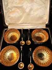ANTIQUE BOXED SET SILVER GILT SALTS & SPOONS BIRMINGHAM 1891 NATHAN & HAYES