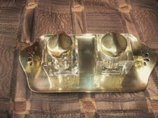 ANTIQUE BRASS DESK TIDY WITH DOUBLE CUT CHUNKY GLASS INKWELLS HINGED LIDS