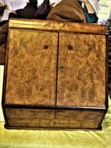ANTIQUE BURR WALNUT STATIONERY CABINET SLOPE FRONT DOORS WITH DRAWER NO KEY