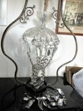 ANTIQUE CHANDELIER LAMPSHADE CRYSTAL GLASS DROPS CUT BOWL + HANG HOOK NEEDS TLC