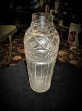 """ANTIQUE CUT CRYSTAL GLASS COCKTAIL SHAKER NO LID DEEP CUTS 32 ETCH ON TOP 9.25"""""""