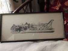 ANTIQUE FRAMED GLAZED ENGRAVING FARM MACHINERY PRINT THOMPSON ROBINSON TORONTO