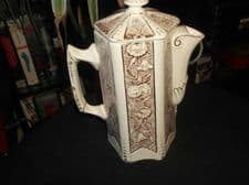 ANTIQUE GILDED COFFEE POT GRIMWADES CONVOLVULUS BROWN TRANSFER c1890