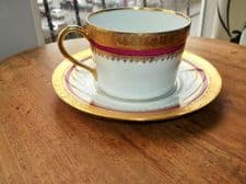 ANTIQUE GOLD ENCRUSTED OVERSIZED CUP & SAUCER SL LIMOGES DEEP PINK BANDS