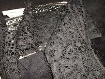 "ANTIQUE HAND MADE BLACK LACE STRIP IN ENVELOPE WITH NAME OF MAKER 60"" X 3"""