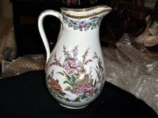 ANTIQUE HANDPAINTED JUG PEACH LUSTRE RIM FLORAL DESIGN 8 IN BASE 8.25""