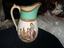 "ANTIQUE HANDPAINTED JUG PEACH LUSTRE ROMAN MOTHER CHILD & DOG SCENE 8.5"" GREEN"