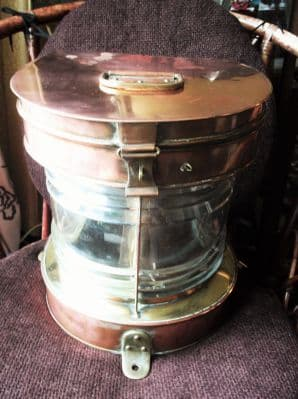 ANTIQUE LARGE HEAVY COPPER & BRASS SHIP MARINE LIGHT CONVERTED ELECTRICITY 13