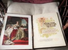 ANTIQUE LARGE LEATHER EDGE SIXTY YEARS A QUEEN 1897 SUPERB ILLUSTRATIONS