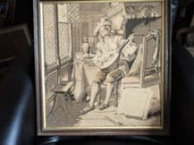 "ANTIQUE OAK FRAMED CLOTH TAPESTRY SEPIA CAVALIER PLAYING LUTE 20"" SQUARE"