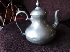 ANTIQUE PEWTER ? POT BELLY ORNATE DESIGN COFFEE POT SUPER KNOB AND SPOUT BASE