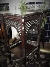 ANTIQUE RICH DEEP MAHOGANY WOODEN TABLE WITH ORIENTAL FRETWORK PANELS TWO TIER