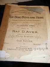ANTIQUE SHEET MUSIC THE BING BOYS ARE HERE FULL SCORE GREY / AYER 1916 ALHAMBRA