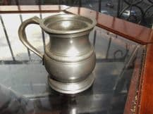 "ANTIQUE SMALL CURVY PEWTER MEASURE TANKARD 1/2 GILL 2.5"" HIGH"