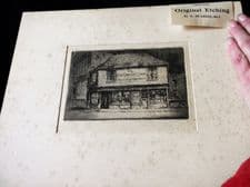 ANTIQUE UNFRAMED + MOUNT ETCHING MONOCHROME PRINT SIGNED G HUARDEL-BLY DICKENS