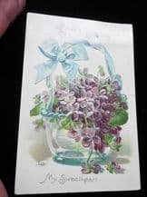 ANTIQUE VALENTINE EMBOSSED TINTED POSTCARD POSTED US 2 CENTS STAMP 1907