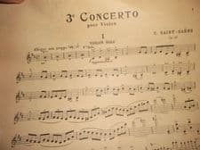 ANTIQUE VIOLIN SOLO SHEET MUSIC SAINT SAENS CONCERTO No 3 DURAND & FILS D&F 2791