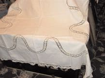 "ANTIQUE WHITE PURE COTTON TABLECLOTH WITH CROCHET WAVY DESIGN & EDGES 50"" X 54"""