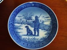 BLUE WHITE DISPLAY PLATE ROYAL COPENHAGEN IMMERVAD BRIDGE 1977