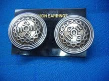 BN UNUSUAL DESIGN SILVER BRONZE TONE CLIP ON EARRINGS