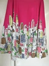 "BNWOT LADIES BOLD DESIGN HOT PINK & ABSTRACT BUILDINGS COTTON SKIRT 34"" WAIST"