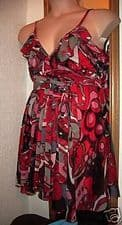 BNWT BOLD RED PRINT STRAPPY FLOATY CHIFFON FRILL PARTY COCKTAIL DRESS 10 NYL