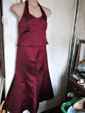 BNWT ELEGANT BURGUNDY SATIN 2 PC EVENING SUIT HALTER TOP ORGANZA TIE ZAFIR 16