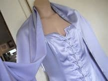 BNWT LADIES LILAC SATIN F/L/ DRESS & MATCHING SHAWL DYNASTY 16 LACE UP FRONT