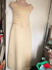 BNWT LADIES PALE GOLD SATIN 2 PIECE BODICE & LONG SKIRT ROMANTICA MEL 12 £149