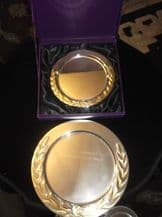 BOXED SILVER PLATED PRESENTATION PLATE + ANOTHER LEAGUE CHAMPIONS GARRETT MILLS