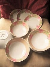 BREAKFAST LOT 3 PLATES & 9 MATCHING CEREAL / SOUP BOWLS PINK FLORAL BEIGE RIM
