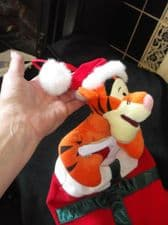 CHRISTMAS PLUSH RED WHITE STOCKING & GREEN SATIN RIBBON STUFFED DISNEY TIGGER