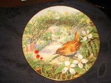 COLLECTABLE GILDED DISPLAY PLATE ROYAL DOULTON GARDEN VISITORS WREN 1992 3/4