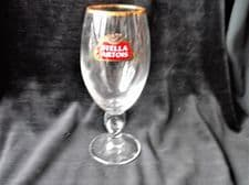 """COLLECTABLE GILDED RIM LAGER GLASS STELLA ARTOIS CHALICE  GREAT COND 7.5"""" HIGH"""