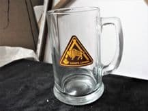 COLLECTABLE GLASS TANKARD THICK HEAVY HALF PINT MANITOBA SCOUTS CANADA LOGO