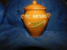COLLECTABLE GLAZED HANDPAINTED TERRACOTTA HONEY JAR + LID MIEL NATURAL