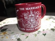 COLLECTABLE GRINDLEY POTTERY GLAZED MUG CHARLES DIANA MARRIAGE 1981