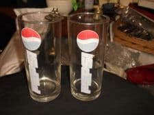 """COLLECTABLE PAIR OF VINTAGE PEPSI GLASS TUMBLERS 6.5"""" HIGH"""