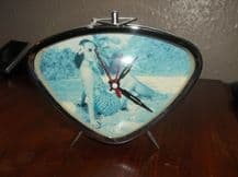 COLLECTABLE RETRO ALARM CLOCK WIND UP WORKING FINE PINK & CHROME BATHING BEAUTY