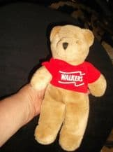 COLLECTABLE SMALL FAUX FUR BEANIE TEDDY BEAR WALKERS 50th PROMOTIONAL VEST