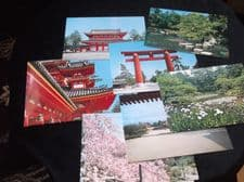 COLLECTION 7 GLOSS COLOUR POSTCARDS IN WALLET ALL NEW HEIAN JINGU
