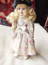 """COLLECTOR DOLL STUFFED BODY HANDPAINTED FACE GLASS EYES 12"""" FLORAL DRESS & STAND"""