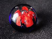 DOME HEAVY GLASS PAPERWEIGHT COBALT BLUE BASE RED FLOWER CONTROLLED BUBBLES