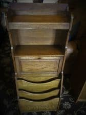 EDWARDIAN OAK CABINET DROP DOWN DOOR + KEY MAGAZINE CORRESPONDENCE COMPARTMENTS
