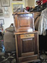EDWARDIAN RICH WOODEN PURDONIUM CARVED DETAIL WITH LINER & TOP CABINET DROP LEAF