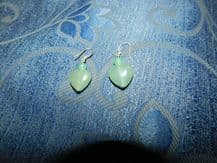 ELEGANT 925 SILVER PIERCED HOOK EARRINGS + PALE GREEN HARDSTONE JADE HEART DROPS