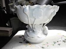 ELEGANT BLANC DE CHINE FOOTED BOWL BIRDS LILIES AROUND BASE SIDES WCW HK CHINESE